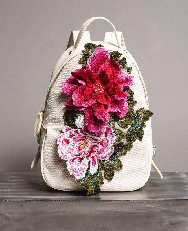 Canvas-Rucksack mit Blumen Berry Rot Frau 191MO8072-01