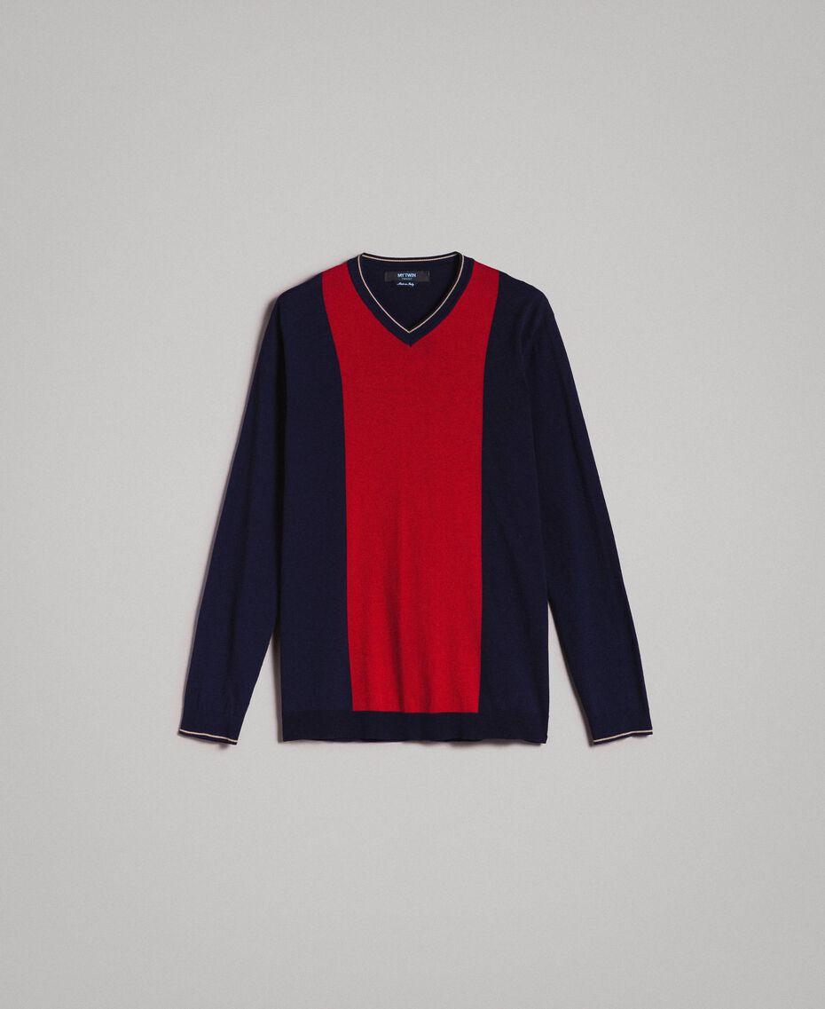 "Crêpe cotton jumper with inlay pattern Multicolour ""Blackout"" Blue / ""Dark Raspberry"" Red / Beige Porcelain Man 191UT3020-0S"