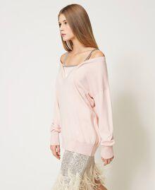 Maglia con spalline gioiello Rosa Chiaro Donna 211TQ301B-03