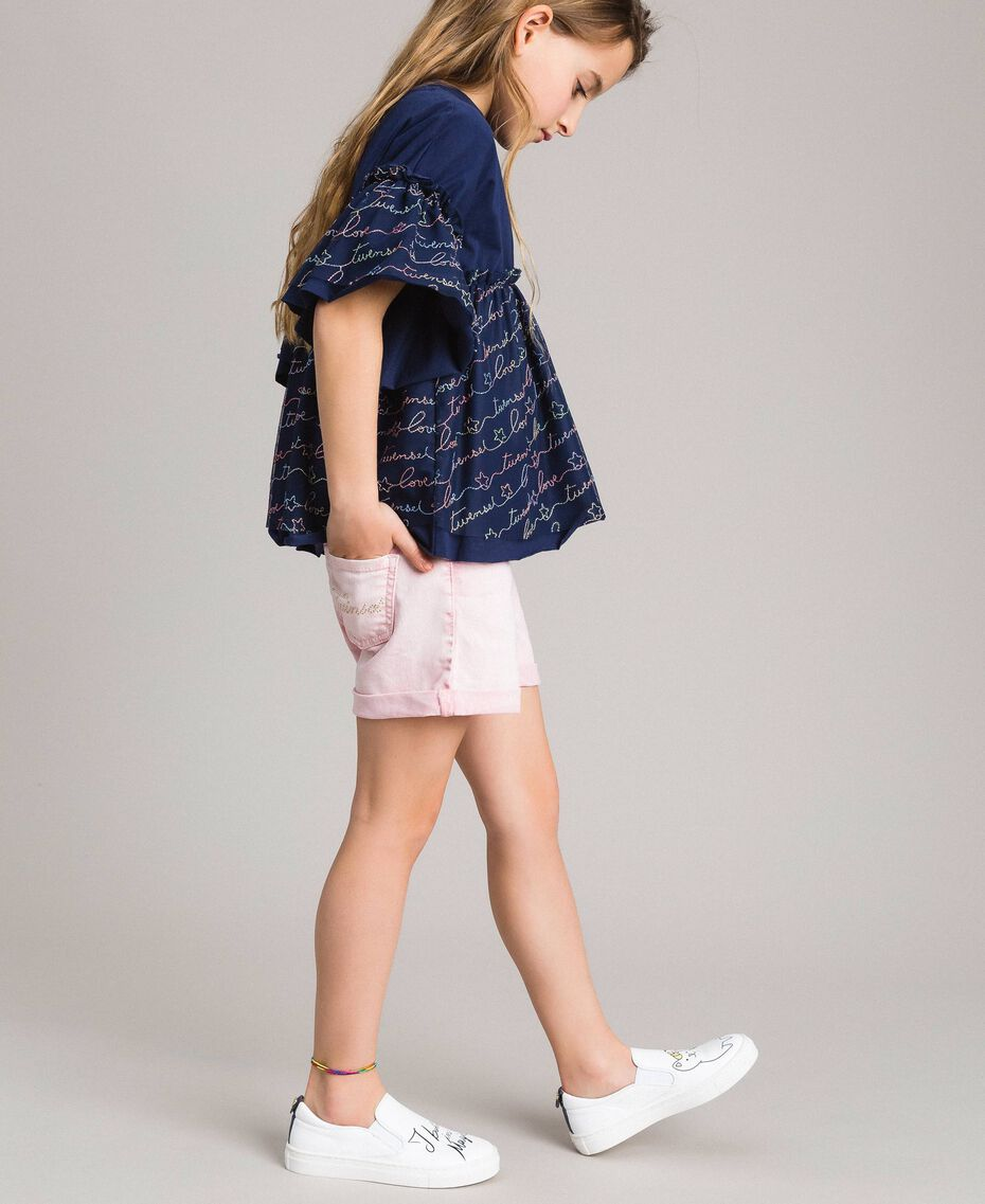 Jersey and tulle embroidered blouse with logo Indigo Child 191GJ2441-02