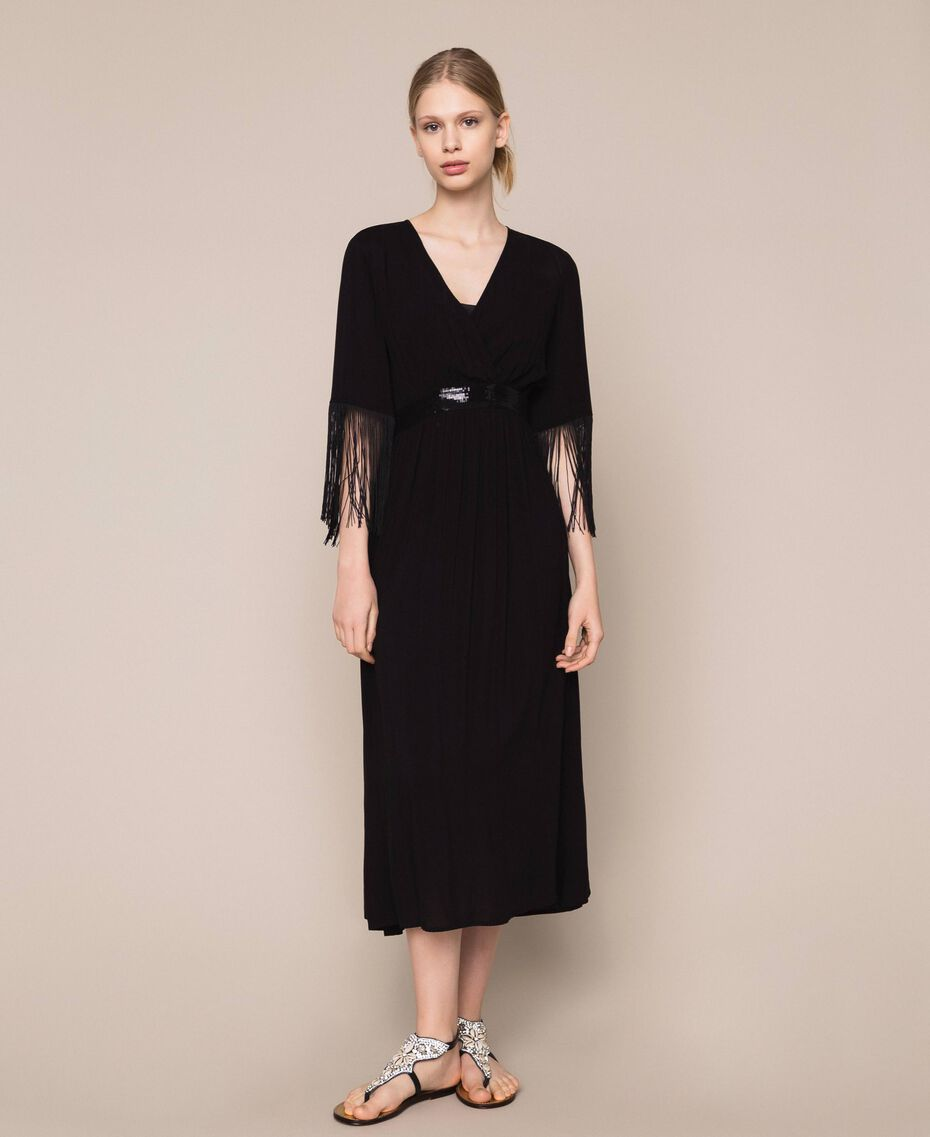 Midi dress with fringes Black Woman 201LB2CKK-02