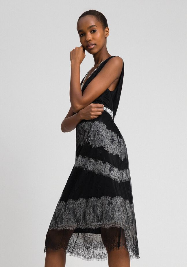 Chantilly lace dress with contrasting inlays