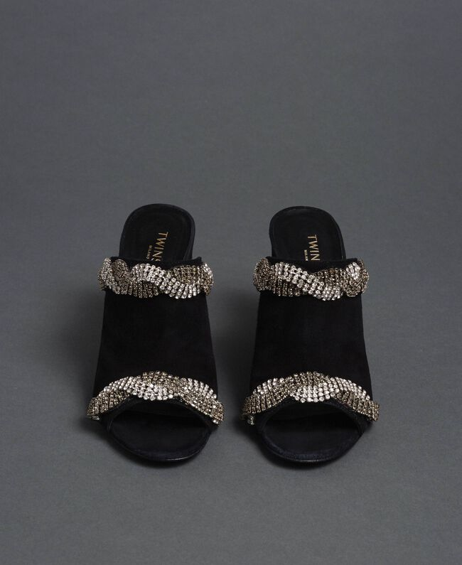 Suede mules with rhinestones Black Woman 192TCP12A-04