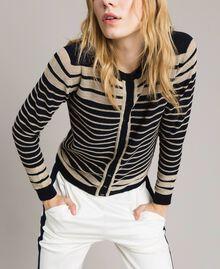 Viscose and lurex striped mandarin collar top Light Gold Lurex / Deep Blue Striping Woman 191TP3232-01
