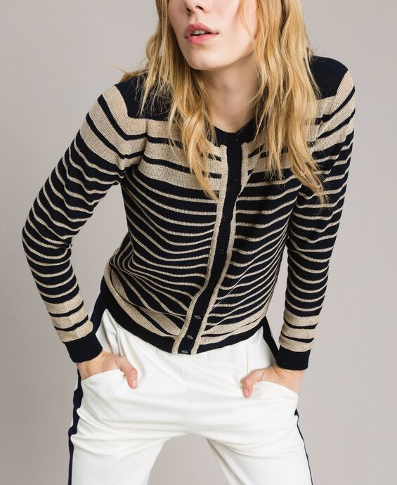 Viscose and lurex striped mandarin collar top