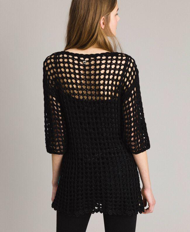 Pull en crochet avec lurex Multicolore Crochet Fleur Noir Femme 191MT3051-03