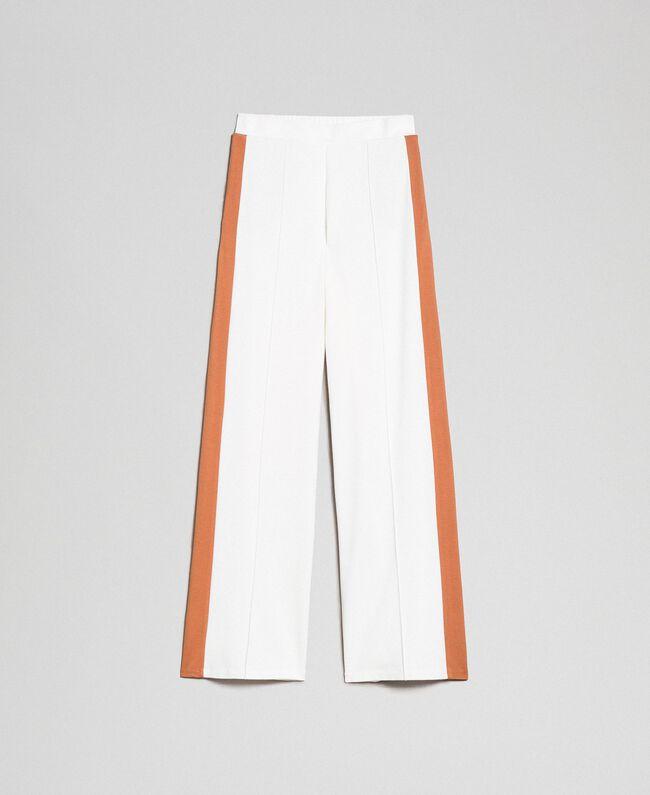Pantalon palazzo avec bandes contrastées Ivoire / Beige «Camel Skin» Femme 192LI2HCC-0S