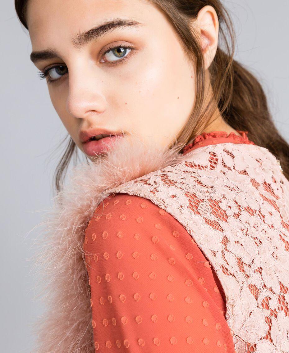 "Feather and macramé lace waistcoat ""Nude"" Beige Woman SA829A-01"