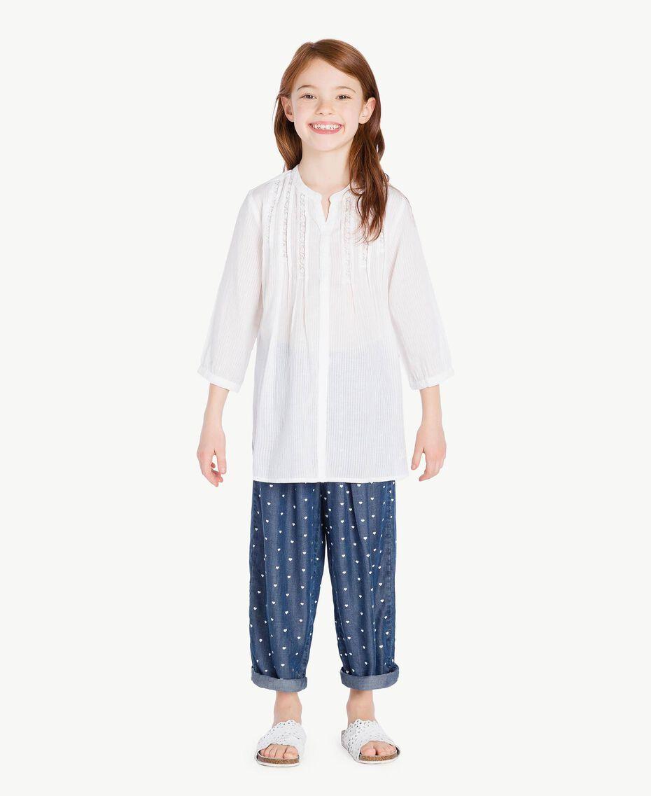 "Embroidered tunic ""Papyrus"" White Jacquard Stripes / Light Melange Grey Child GS82JN-02"