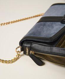 """Grand sac à bandoulière Rebel en cuir lisse et cuir velours Multicolore Bleu Ciel Cendre / Vert """"Vert Olive"""" Femme 202TB7052-03"""