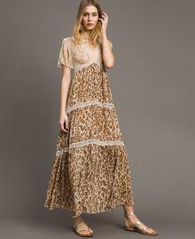 """Robe longue avec imprimé animalier Imprimé Animalier Marron """"Grès de Pétra"""" Femme 191LM2UGG-01"""