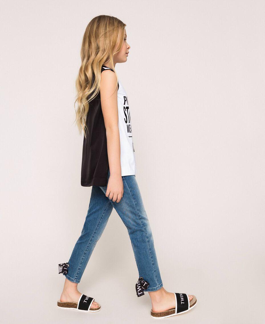 """Jeans skinny con logo Blu """"Denim Medio"""" Bambina 201GJ2375-01"""