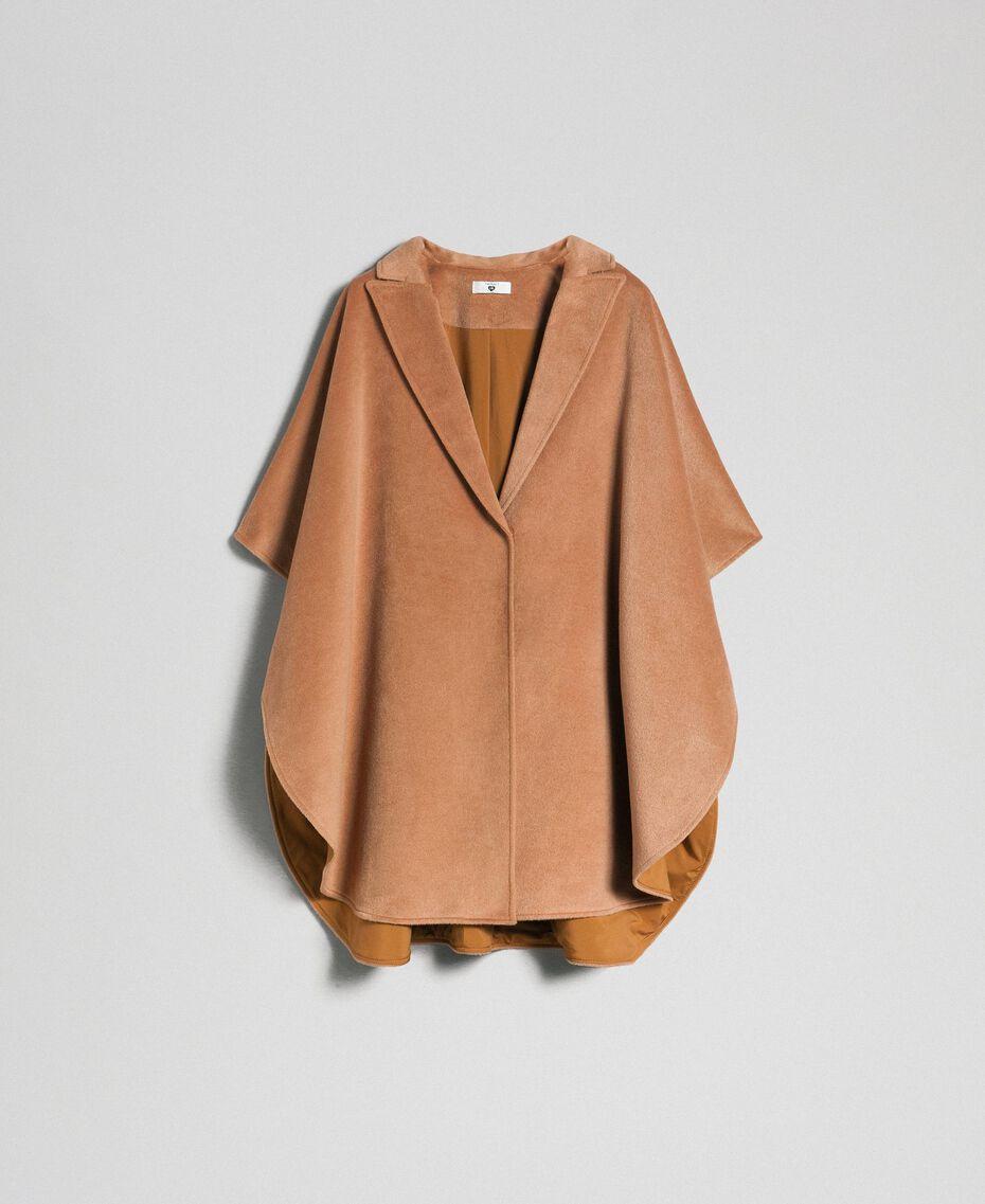 Cape en panne de velours Beige «Camel Skin» Femme 192LI2DDD-0S