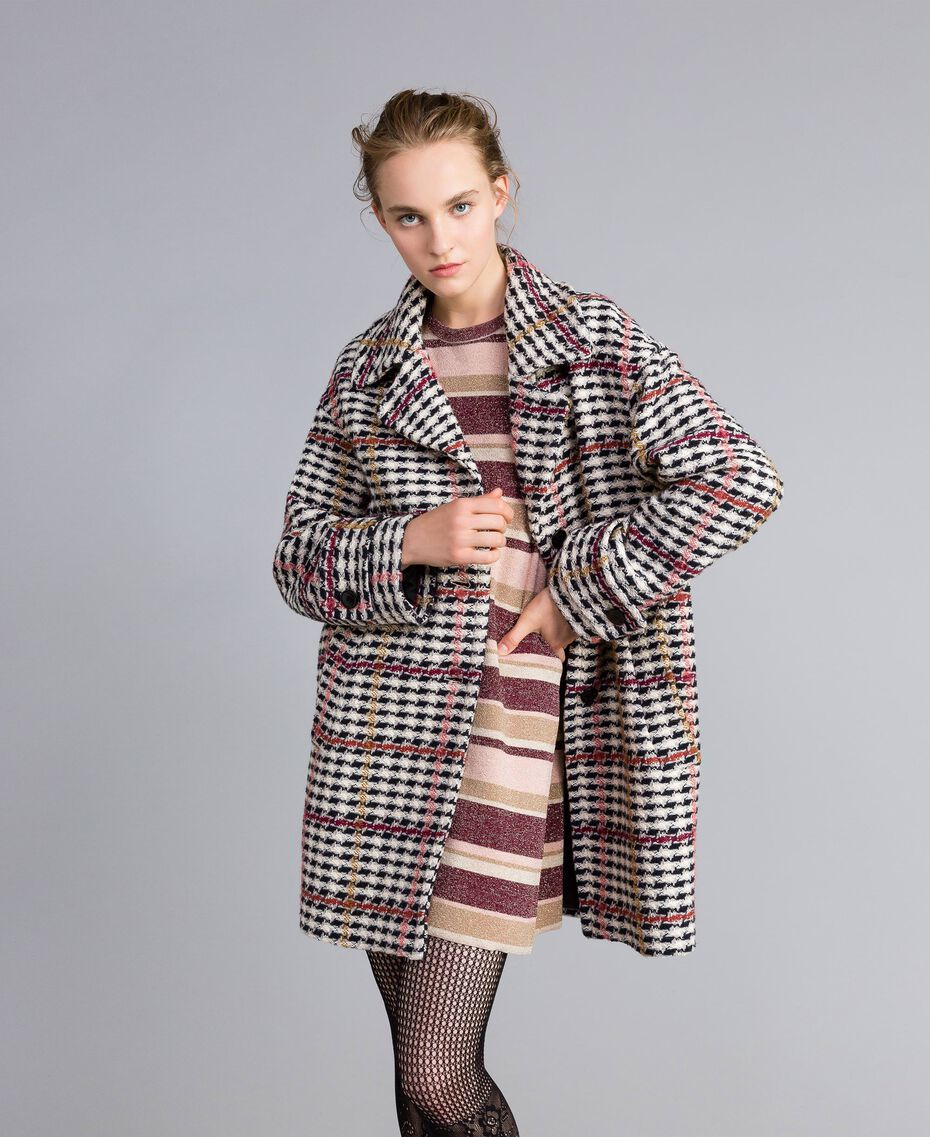 Oversized houndstooth coat Large Multicolour Check Jacquard Woman PA826H-02