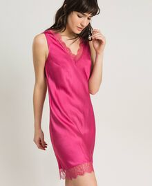 Slip dress in satin and lace Rose Blossom Woman 191LL2DBB-02