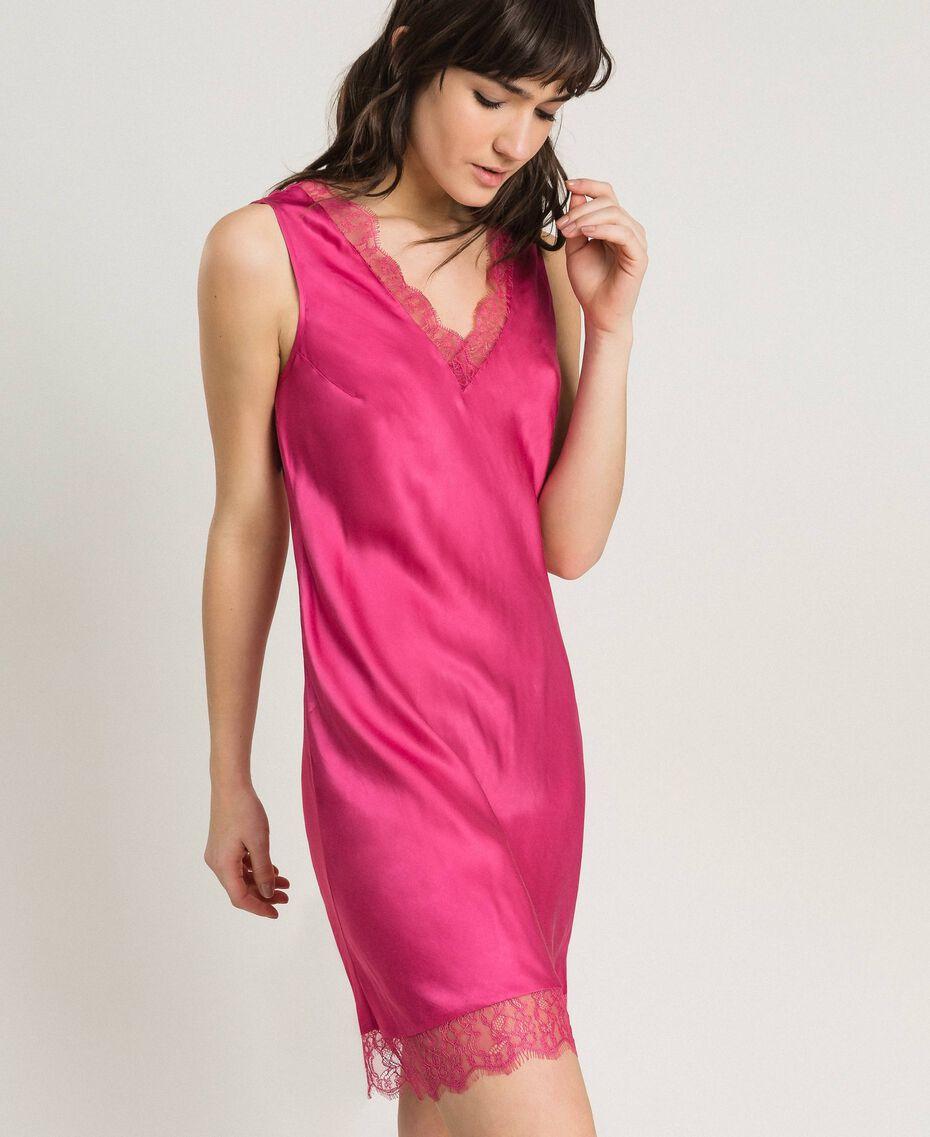 Платье-комбинация из атласа и кружева Цветок розы женщина 191LL2DBB-02