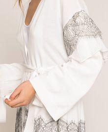 Длинный кардиган с двухцветным кружевом и плиссировкой Белый Antique White женщина 201TT3140-04