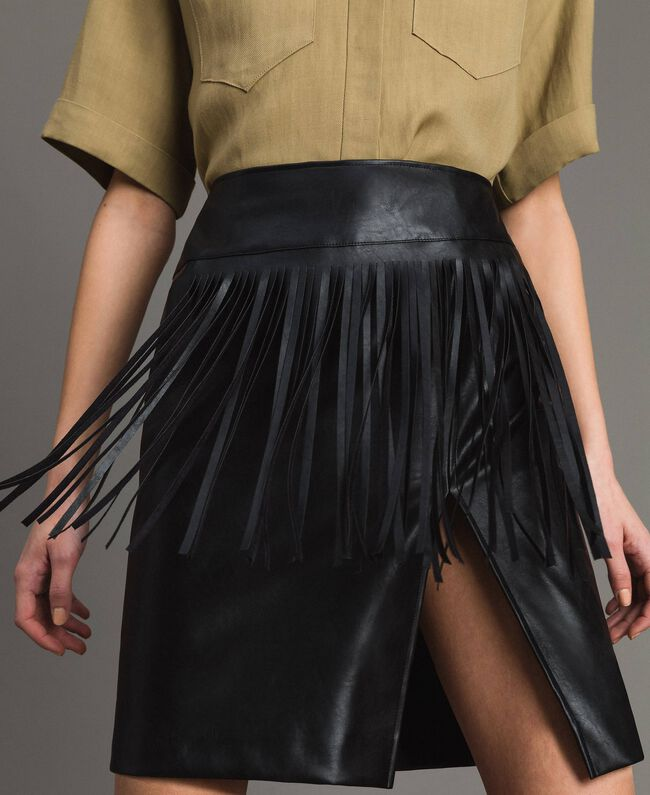 Faux leather mini skirt with fringes Black Woman 191TT2321-01
