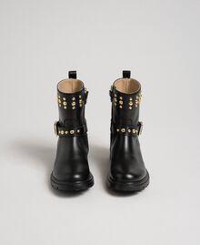 Bottines motardes en cuir avec clous Noir Enfant 192GCJ01E-04