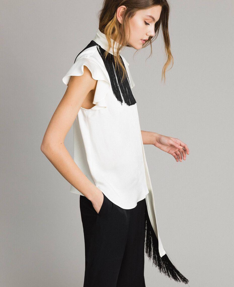 """Fringed belt blouse Bicolour """"Snow"""" White / Black Woman 191TT2384-02"""