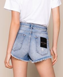 Shorts with rhinestones Denim Blue Woman 201MP2272-04