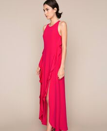 Long dress with frills Black Cherry Woman 201TP2434-01