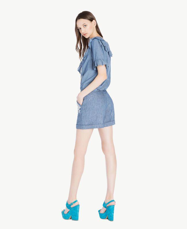 TWINSET Sandales daim Bleu «Gentiane» Femme CS8TCC-06
