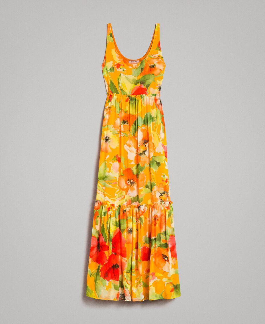 Georgette-Maxikleid mit Blumenmuster Motiv Gelbe Macro Blumen Frau 191TT2480-0S