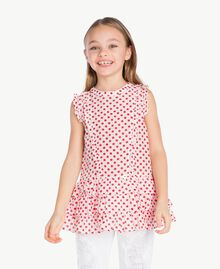 """Top pois Stampa Pois Bianco """"Papers"""" / Rosso Melograno Bambina GS82PQ-02"""
