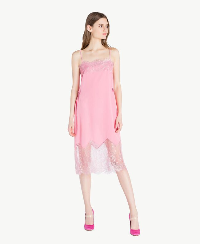 "Silk dress Two-tone ""Doll"" Pink / ""Hydrangea"" Pink Woman PS82WA-04"