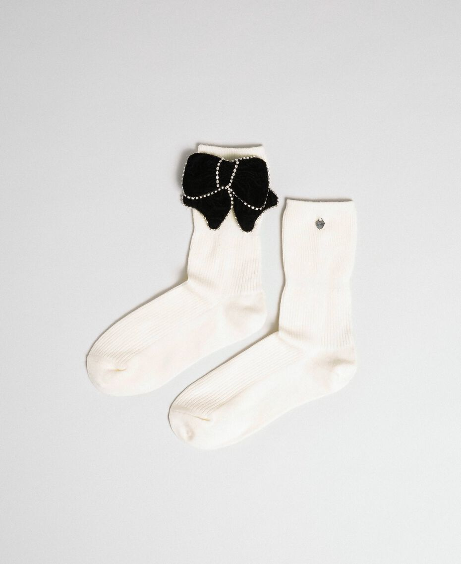 Short socks with removable bow White Snow Woman 192TA4324-01