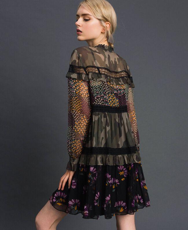 Abito con stampa camouflage e a fiori Stampa Patch Fiore Camouflage Donna 192TT2122-03