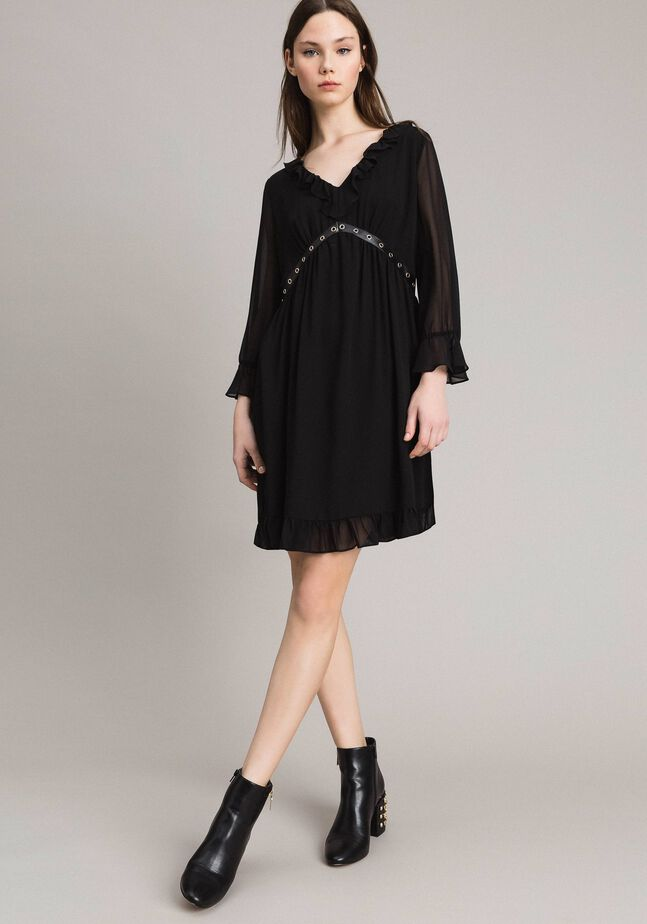 Georgette dress with frills