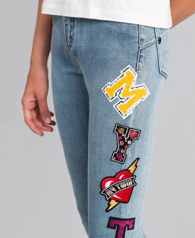 Jean skinny en denim avec patchs Bleu Denim Femme YA82Y1-04