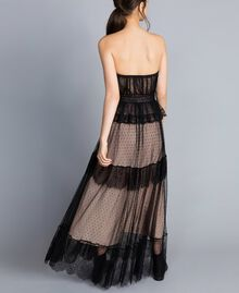 Tulle plumetis and lace long bustier dress Black Woman TA82XC-03