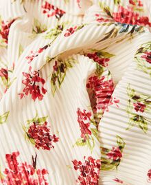 Pleated stole with floral print Cream White Floral Print Woman 202MA432L-03