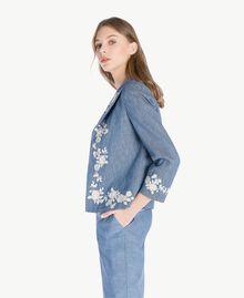 Embroidered jacket Dark Blue Denim Woman TS82BN-02