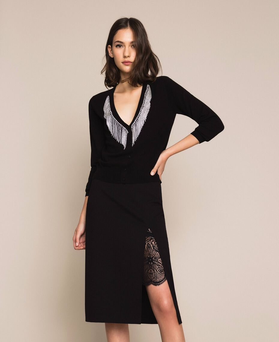 Side slit and lace skirt Black Woman 201TP212C-01