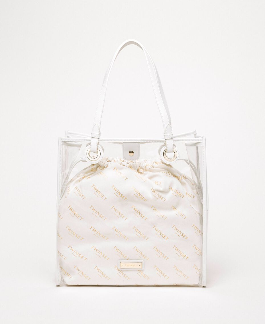 Shopper with logo sack White Woman 201TA7180-01