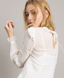 Georgette and lace blouse White Snow Woman 191TP2120-04