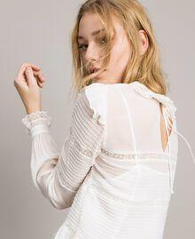 Blouse de georgette et dentelle Blanc Neige Femme 191TP2120-04