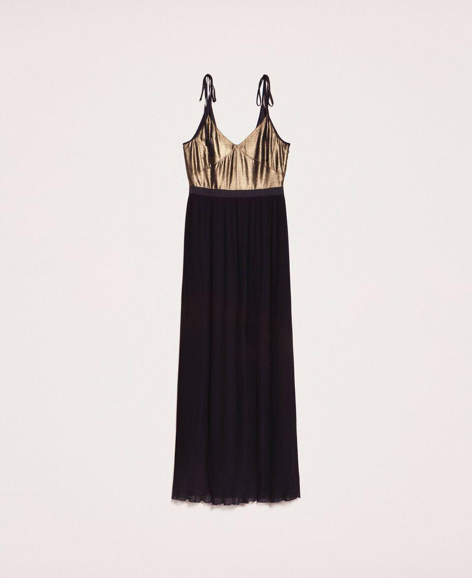 Длинное платье с плиссированной юбкой Черный женщина 201LB22GG-0S