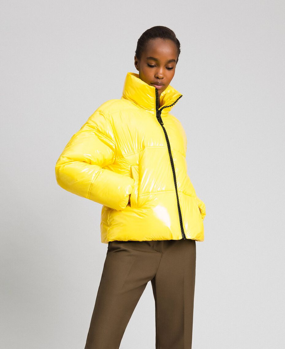 Patent leather effect short puffer jacket Yellow Woman 192MT2070-06