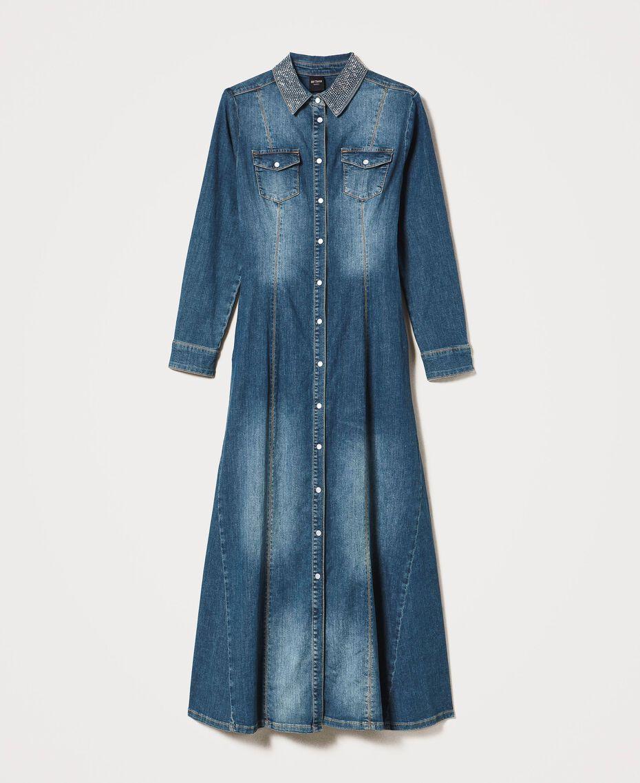 "Long denim dress with studs ""Mid Denim"" Blue Woman 202MP2470-0S"