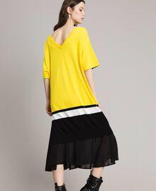 "Long dress with slip Two-tone ""Freesia"" Yellow / Black Woman 191MP3053-03"