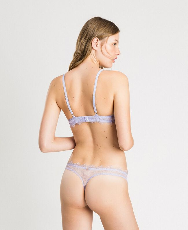 Floral g-strings with lace Lilac Mini Flowers Print Woman 191LL6A88-03