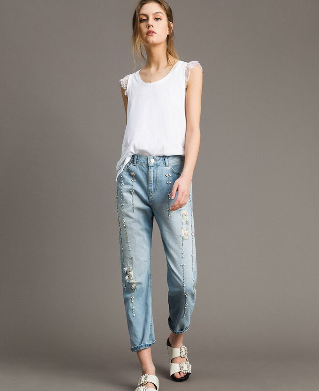 Jean girlfriend avec strass et pierres Bleu Denim Femme 191MT2180-01