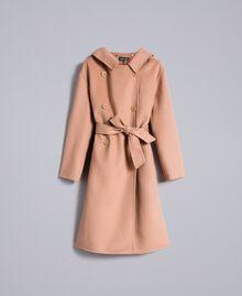 Zweireihiger Mantel aus doppellagigem Tuch Camel Frau PA8263-0S
