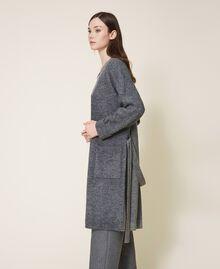 Manteau en maille avec boutonnière et ceinture Gris moyen chiné Femme 202ST3102-03