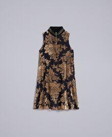 Kurzes Kleid aus Dévoré-Samt Dévoré Kamelbraun Frau PA82M5-0S